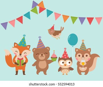 Set of cute cartoon woodland animals for birthday greeting or invitation card design
