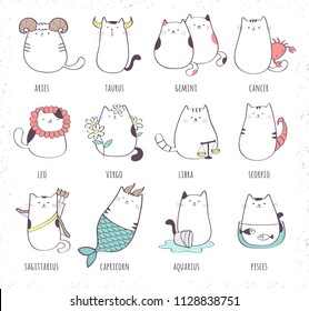 Set of cute cartoon zodiac cat. Vector illustration of twelve zodiacal symbols: Aries, Taurus, Gemini, Cancer, Leo, Virgo, Libra, Scorpio, Sagittarius, Capricorn, Aquarius, Pisces. Cat collection.