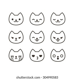 Set of cute cat emoticons with different expressions in simple cartoon style.