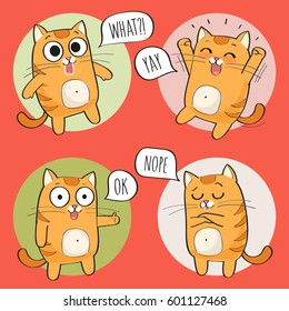 Set of cute cat stickers in various poses. Cartoon cat character. Vector illustration