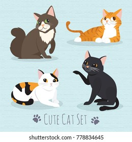 Set cute cats flat icons. Vector Illustration Cartoon