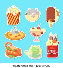Set of cute cats with food. Kawaii vector cats.