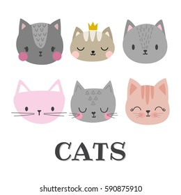 Set of cute cats. Funny doodle animals. Kittens in cartoon style. Vector illustration