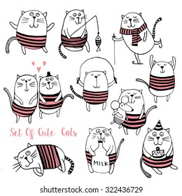 Set of Cute cats vector background.