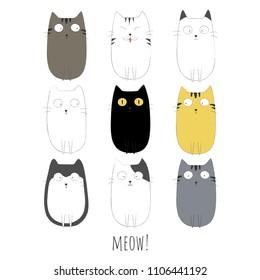 Set of cute cats vector illustration.