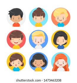 set of cute character cartoon for avatar vector illustration for
