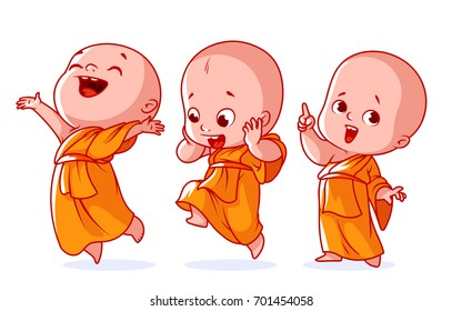 Set of a cute character. A little baby monk with different happy emotions. Vector cartoon illustration on a white background.
