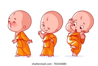 Set of a cute character. A little baby monk with different emotions. Vector cartoon illustration on a white background.