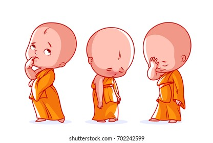 Set of a cute character. A little baby monk with different sad emotions. Vector cartoon illustration on a white background.