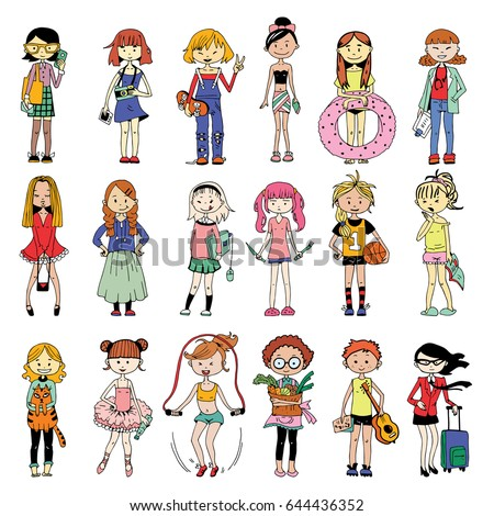 set cute characters cartoon girls colorful のベクター画像素材