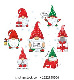 "Set of Cute cheerful gnomes with phrase ""Merry Christmas""."
