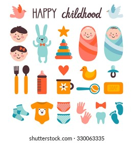 Set of cute childish elements. Collection of icons: little baby, girl, boy, toys, baby's dishes, clothes, footprint, tracing of hand, first tooth. Bright elements are isolated on white.