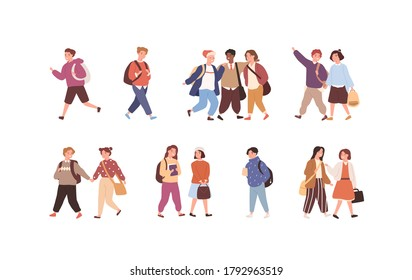 Set of cute children with backpack or bag going to elementary or middle school vector flat illustration. Collection of funny pupils or students isolated on white. Kids friends or classmates
