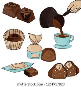 Set of cute chocolate, dessert