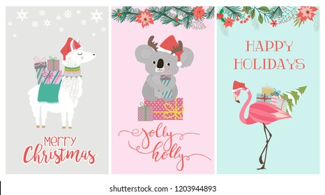 Set of cute Christmas card with koala bear, flamingo and lama. Editable vector illustration