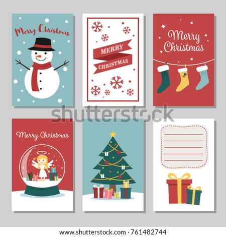 set of cute christmas cards vector illustration