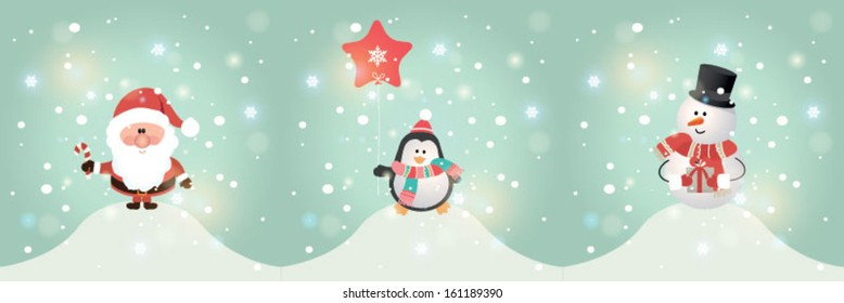 Set of cute Christmas character. Vector illustration