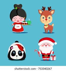 Set of cute Christmas characters like Santa Claus, panda, deer, Mrs. Claus. Vector illustration.