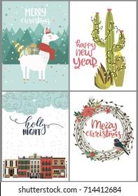 Set of cute Christmas greeting cards. Editable vector illustration