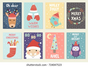 Set of cute Christmas greeting cards. Postcards and prints with reindeer, santa, owl and bird. Vector illustration