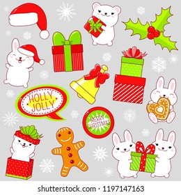 Set of cute Christmas icons in kawaii style. Rabbit and polar bear with gift, bell, stack of gifts, holly berries, Santa's hat, snowflakes, gingerbread, sticker with inscription Season of joy. EPS8