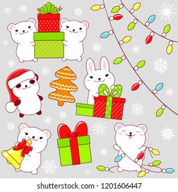 Set of cute Christmas icons in kawaii style. Rabbit and polar bear with gift and bell, stack of gifts, panda in Santa's hat, snowflakes, gingerbread, garland. EPS8