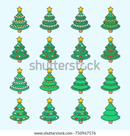 set of cute christmas tree vector
