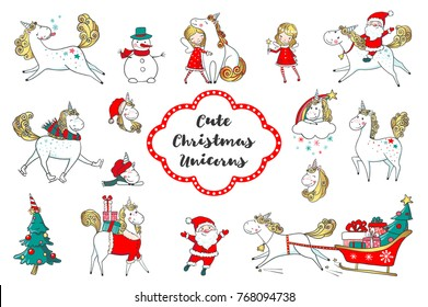 Set of Cute Christmas unicorns and other Christmas characters isolated on white. New Year collection. Vector illustration.