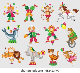 set of cute circus animals (vector illustration)