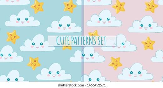 Set of cute clouds patterns. Vector design