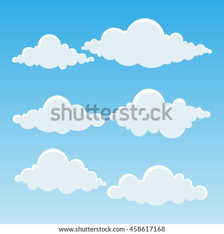 set cute clouds sky vector illustration stock vector royalty free