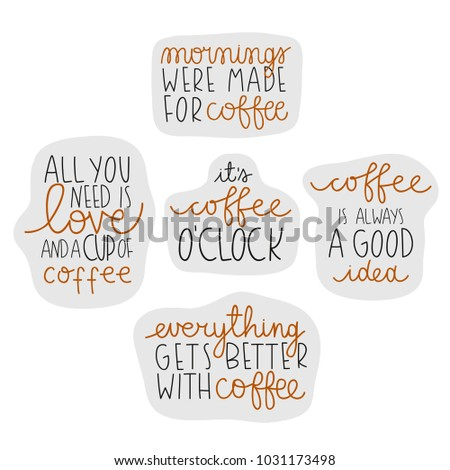 set cute coffee theme quotes on stock vector royalty free