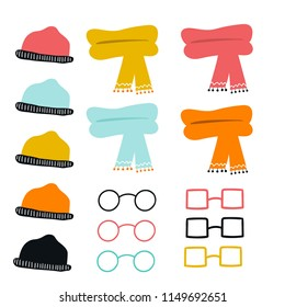 Set of cute color hand drawn glasses, hats and scarves. Collection of cartoon clothes. Vector illustration.