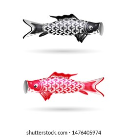 Set of Cute Colored Koinobori - Traditional Japanese Carp Streamers. Celebrating Children's Day in Japan. Fish Kites. Vector Illustration Isolated on White Background