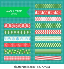 Set of cute colorful christmas washi tape stripes.