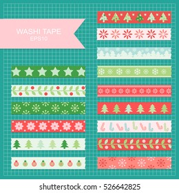 Set of cute colorful christmas washi tape strips.