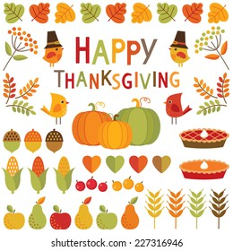 Set of cute, colorful design elements for autumn, fall and Thanksgiving. Isolated on white, Happy Thanksgiving typographic message.