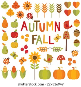 Set of cute, colorful design elements for autumn, fall and Thanksgiving. Isolated on white, scrapbook, clip-art, stickers, decals.