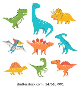 Set of cute colorful dinosaurs for kids design isolated on white background