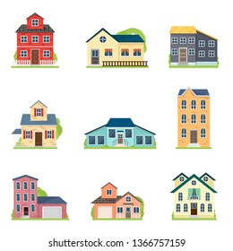 Set of cute colorful houses in city or village style