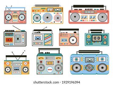 Set of cute and colorful old school tape recorders doodles. Vintage boombox icons. Hand drawn illustration.