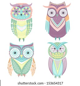 set of cute colorful owls owl