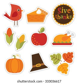 Set of cute, colorful stickers for autumn, fall and thanksgiving. Give Thanks typographic message included.