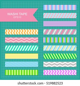 Set of cute colorful striped washi tape strips.