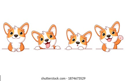Set of cute corgi dog. Set of borders with kawaii welsh corgi puppy. Collection of dogs with different emotion - funny, happy, surprised, sticking out tongue. Vector illustration EPS8