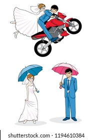Set of Cute Couple Married  and the groom's motercycle.