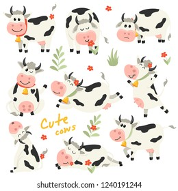 Set of cute Cows character in various positions. Vector illustration for your design