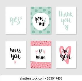 Set of cute creative card with love theme design for wedding, anniversary, birthday, Valentine's day, party invitations. Vector illustration. Green, pink and black