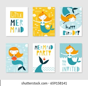 Set of cute creative card templates with mermaid theme design. Hand Drawn card for birthday, party invitations, scrapbook, summer holidays. Vector illustration in yellow, orange and blue colors.