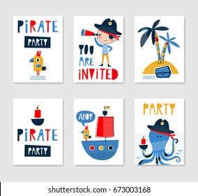 Pirate invitation images stock photos vectors shutterstock set of cute creative card templates with pirate theme design hand drawn card for birthday stopboris Image collections